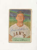 Davey Williams Giants #9 1954 Bowman card Signed