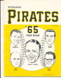 1965 Pittsburgh Pirates Baseball Yearbook vg (back stain) v1