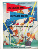 1953 8/28 Los Angeles Rams vs browns  football  program