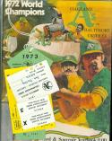 1973 Oakland A's vs Baltimore Orioles ALCS program press passes packet