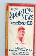 1936 Sporting News Record Book Hank Greenberg tigers