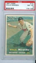 1957 topps Willie Miranda 151 psa 8
