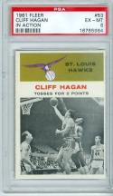 1961 Fleer Cliff Hagan 53 psa 6 hawks