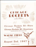 AAFC Chicago Rockets  8/2 1947 pre season program in Wisconsin