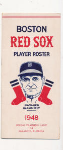 2 1948 Boston Red Sox Spring Training Roster em/nm