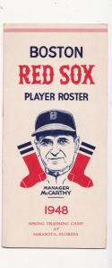 2 1948 Boston Red Sox Spring Training Roster em/nm