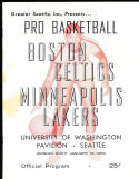 1959 1/12 Boston Celtics vs Minneapolis Lakers Basketball Program seattle