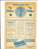 5/9 1937  Reds vs Phillies score 22 to 10 highest scoring  baseball program