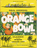 1962 Orange Bowl Colorado vs LSU Football Program  bxbowl
