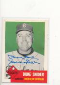 Signed 1953 Topps 1991 Archives card 327 Duke Snider Dodgers 327