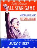 1937 annual all star baseball game Washington DC FDR program - opie reprint