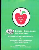 1977 Abilene christian SW Oklahoma Div 1 Championship football program ticket