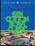 1981 Alabama vs Baylor Football Cotton Bowl Program