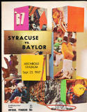 1967 9/23 Syracuse vs Baylor football  program em nice!