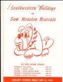 9/25 1959 Southwestern Bulldogs vs Sam Houston Bearcats Football Program