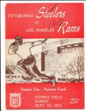 1953 9/20  Pittsburgh steelers vs Los Angeles Rams football program  scored