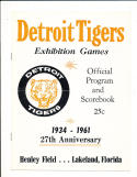 1961 Detroit Tigers vs St. Louis Cardinals spring training baseball Program