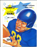 9/1 1956 new York Giants vs Los Angeles Rams Football Program