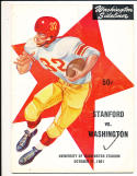 1961 10/21 Stanford vs Washington  Football Program CFBbx10