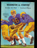 1962 10/20 Stanford vs Washington Football Program CFBbx10