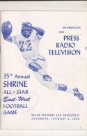 1/2 1960  - 35th Shrine All East West Football Bowl media press radio tv guide