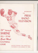 12/27 1958  - 34th Shrine All East West Football Bowl media press radio tv guide