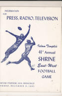 12/31 1965  - 41st Shrine All East West Football Bowl media press radio tv guide