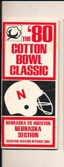 1980 cotton Football Bowl media press guide em-nm Nebraska vs Houston