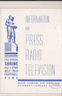 1/2 1954  - 29th Shrine All East West Football Bowl media press radio tv guide