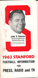 1963 Stanford Football Media Guide ex (cover side stain)
