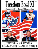 1994 Freedom Bowl Football program nm Utah vs Arizona