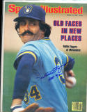 1981 3/16 sports illustrated Rollie Fingers Brewers newsstand signed no label