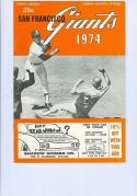 1974 Giants Spring Training Program nm Dodgers Indians