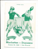 10/24 1942 Manhattan vs duquesne Football Program
