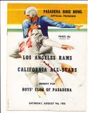 8/9 1958 Los Angeles Rams vs California All Stars Football Program rose bowl