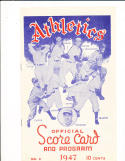 1947 Philadelphia Athletics vs cleveland Indians unscored program