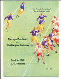 9/6 1948 Cardinals vs Washington Redskins Football Program PLAYED IN DENVER