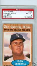 1962 topps 398 Don Drysdale all star  psa 6