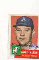 Signed 1953 Topps 1991 Archives card 226 Morris Martin Athletics 227