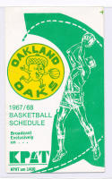 1967 Oakland Oaks ABA RARE Pocket Schedule  three fold