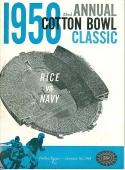 January 1, 1958 Cotton Bowl Navy Rice football program