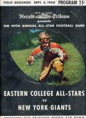 1940 eastern college all stars vs New York Giants football program em/nm