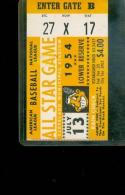 1954 all star game Ticket em cleveland