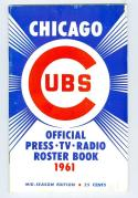 Chicago Cubs Roster Press Guide em 1961 mid season