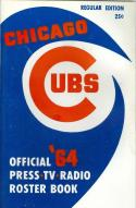 Chicago Cubs Roster Press Guide nm  1964 regular edition