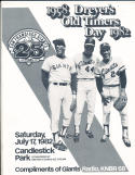 7/17 1982 San Francisco Giants Old Timers Willie Mays  baseball program
