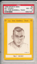 1968 sports memorabilia all time baseball teams Bill Dickey #8 psa 8