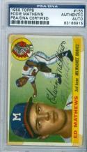 1955 TOPPS card 155 Eddie Mathews PSA/DNA vintage signed