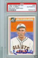 1983 Donruss Carl Hubbell signed card psa/dna