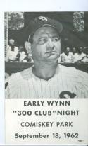 1962 Early Wynn 300 Club Night Program